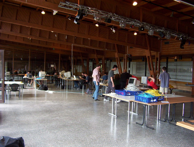 Hacklab in the process of being tied up at the end.