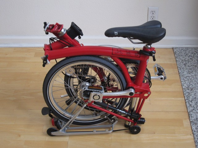 Red Brompton M3R folded