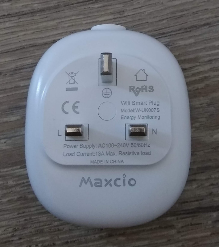 Maxcio W-UK007S Power Monitoring Smart Plug notes